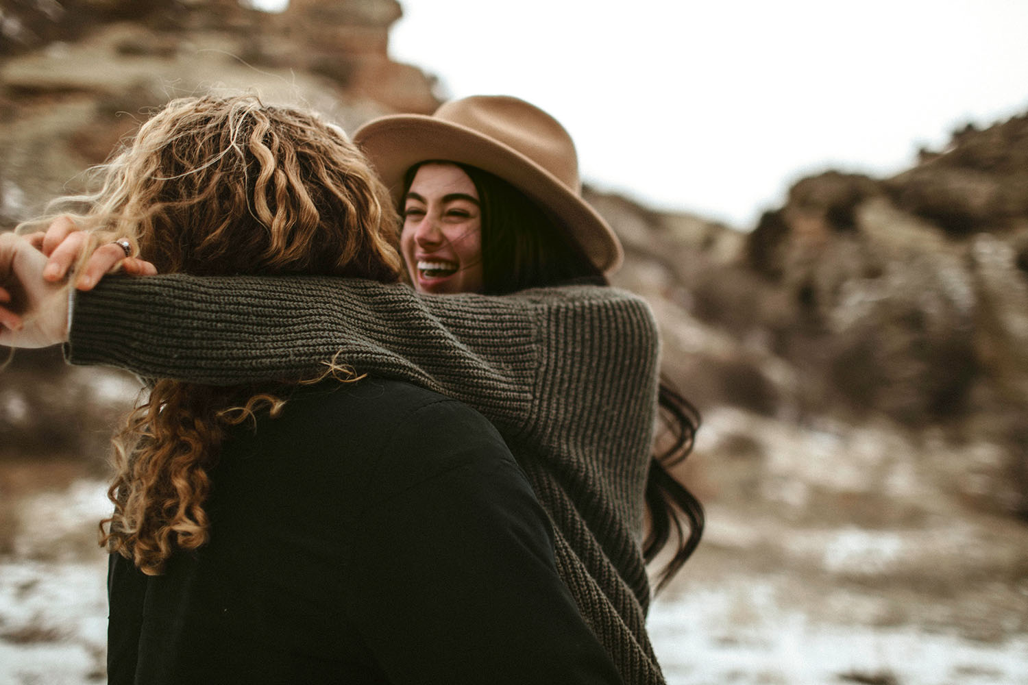 winter, canyon, couple, love, engagement